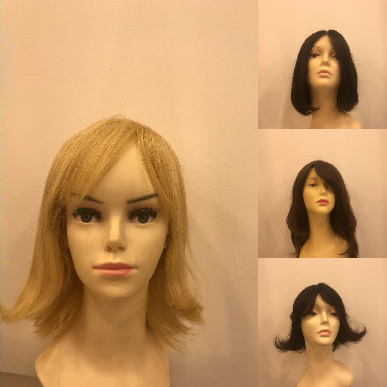iki yana perçemli sarı kısa medikal peruk